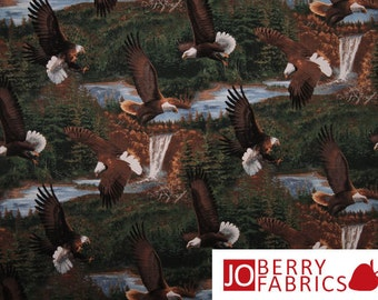 Eagle Fabric, Wild Wings by Michael Sieve for Springs Creative Products, Quilt or Craft Fabric, Fabric by the Yard