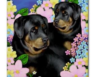 ROTTWELER DOGS Garden Аrt Ceramic Tile Coaster