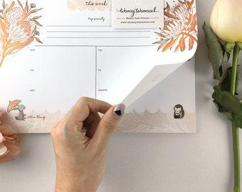 Copper Foil Weekly Desk Planner - Rabbit, Hedgehog & King Protea   Botanical Collection