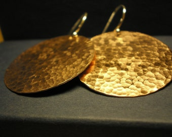 Copper Hammered Disc Earrings - Maxi Sized