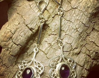 Earrings Silver Filigree boho