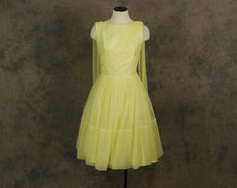 Clearance SALE vintage 50s Party Dress - Sheer Yellow Ball Gown - 1950s Draped Cupcake Formal Dress Sz S
