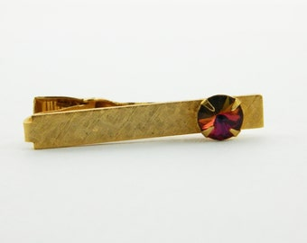 Gold Etched Mystic Topaz Tie Clip