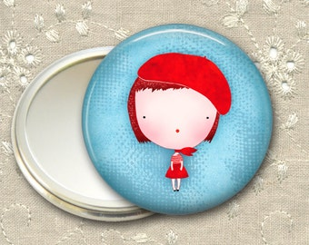 cute girl pocket mirror,  red haired girl art hand mirror, mirror for purse, bridesmaid gift, stocking stuffer  MIR-108
