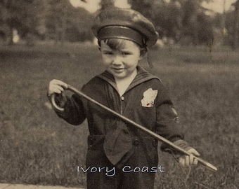Little Boy with Cane and Sailor Hat vintage photo. Digital Download, Nautical, image, transfer, child, boating, portrait, # 12PS/PS/FP