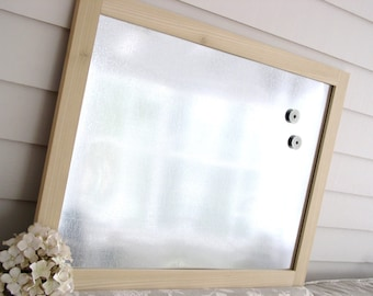 "Industrial Chic Wood Framed Magnetic Bulletin Board Dry Erase Galvanized Steel and Hardwood 20.5 x 26.5"" Memo Message Board with Magnets"
