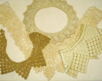 4 Antique and Vintage Handmade Knitted & Tatted Collars