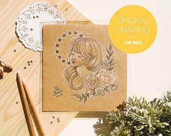 JASMINE - Original Drawing - Pencil Illustration . Unic piece