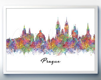 Praque Skyline Watercolor Art Poster Print - Wall Decor - Watercolor Painting - Illustration - Home Decor - Office Decor - Kitchen Decor