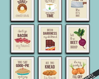 Funny Kitchen Song Series - Set of 9 Art Prints (Featured in Colors 29) Kitchen Art