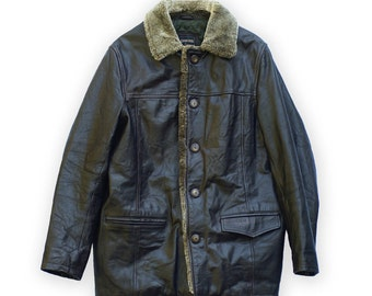 Parka hombre capa Redskins chaqueta abrigo vintage cuero chaqueta de cuero
