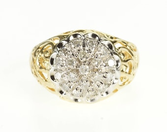 14k 0.60 Ctw Diamond Cluster Ornate Scroll Design Ring Gold