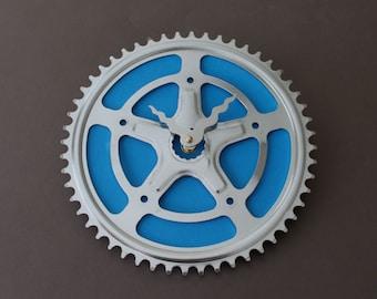 Bicycle Gear Clock - Blue Star Vintage  |  Bike Clock  | Wall Clock | Recycled Bike Parts Clock
