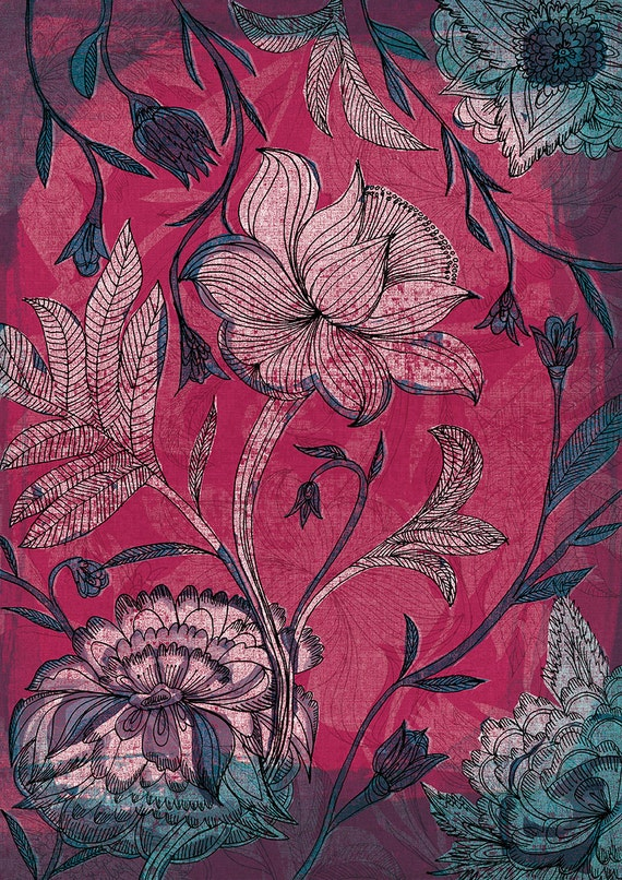 Deep Red Indian Floral Pattern Wall Art Print
