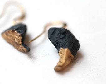 Nil, porcelain and gold earrings, glazed .Porcelain jewelry