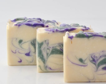 Lavender and herb handcrafted luxury soap with two butters, jojoba oil and goat milk
