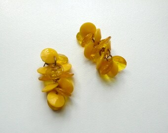 Vintage Yellow Dangle Earrings