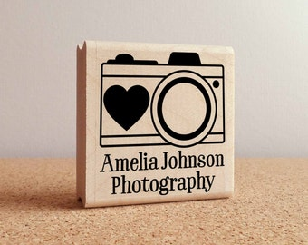 Personalized Photography Camera Rubber Stamp with Name, Custom Photographer Stamp