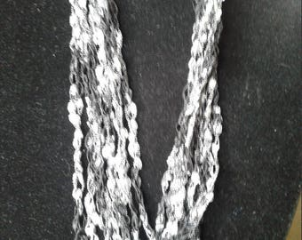 Black& silver crocheted necklace