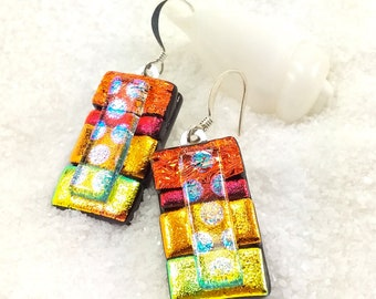 Dichroic glass jewelry, fused glass earrings, dichroic glass beads, orange earrings, earrings handmade, fused glass art, dichroic glass