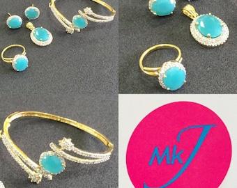 Pendant,Stud Earrings,Ring and Bangle Set.