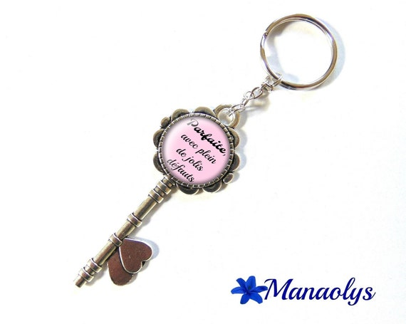 """Door keys or bag charm, message, quote, """"Perfect, with lots of pretty defects"""" 133 glass cabochons"""