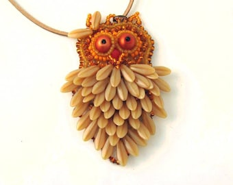 Owl pendant, long necklace pendant, owl jewelry necklace,bead embroidered owl necklace, owl beaded necklace, brown and orange, autumn