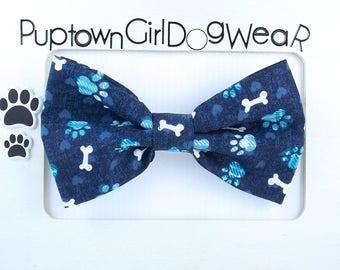 Dog Bow Tie Paw Print Bow Tie Cat Bow Tie Dog Bone Bow Tie Blue Bow Tie