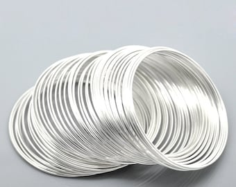 100 Loops Silver Plated Memory Beading Wire 50mm-55mm (B394)