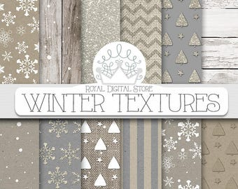Winter digital paper, winter scrapbook paper, winter paper pack, winter digital download, winter textures, holiday digital paper for cards