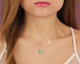 """Gold sideways cross necklace, turquoise necklace, asymmetrical necklace, turquoise jewelry, gold cross, gold filled pendant, """"Gaea"""""""