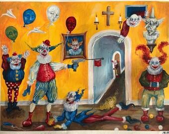 Clown Academy - original acrylic painting