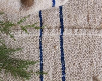 EP 757: antique handloomed bleuet bleu; coussin grainsack coussin de mariage longue, 41,73 runner, français lin, printemps, vintage