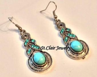 Turquoise Earrings,Boho Earrings,Hippie Earrings,Gypsy Earrings,Boho Jewelry,Hippy Jewelry,Gypsy Jewelry