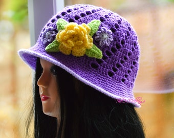 Purple Crochet Womens Hats, Handmade Teen cloche Hat, woman Cap with yellow flower, womens gift