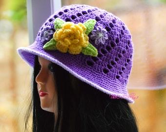 Purple Crochet Womens Hats, Handmade Teen cloche Hat, woman Cap with yellow flower, womens gift