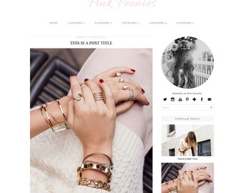 Premade Blogger Template - Instant Download - Pink Peonies - Blogger Template theme - Girly blog design - blogger blog template