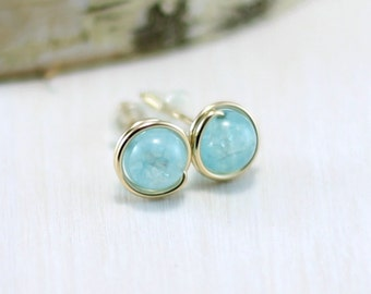 Aquamarine Earrings, 14k Gold Filled Blue Aquamarine Stud Earrings Yellow Gold Wire Wrapped March Birthstone Post Earrings