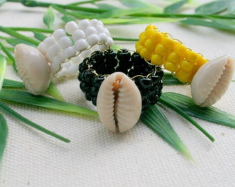Ring cowrie beaded African style