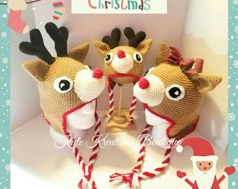 Reindeer hat/Crochet Reindeer Earflap Beanie/baby/Adult Reindeer Hat!