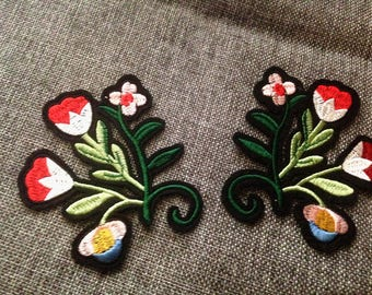 Pair of flowers Patch Embroidered  Iron on Sew On Patch  Applique p66