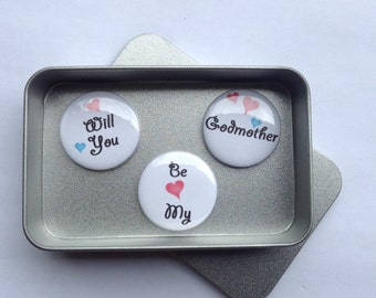Christening / Will You Be My Godmother / Godfather Gift Magnets, With Gift Tin, Perfect Keepsake, Momento, Handmade