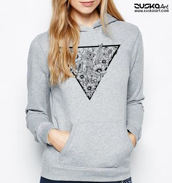 Triangle Flowers | Unisex Heavy Blend Hooded Sweatshirt | Tattoo Style | Geometrical Drawing | Ink flowers | Graphic Hoodie | ZuskaArt