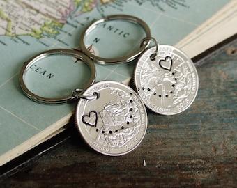 Quarter Keychain Set, Boyfriend Girlfriend Keychains, Long Distance Relationship, State to State, Couples Gift Set, Valentines Day Gift