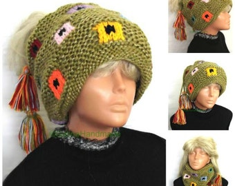 Women's Slouchy Beanie Hat Tube Scarf  Bohemian Headband Turban Hair Wrap Wide Slouch Hats Oversized Neck Warmer Colorful