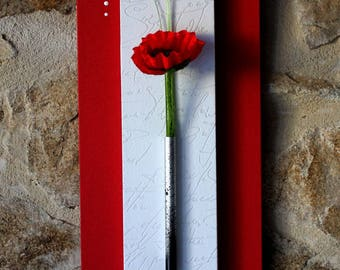 Sleek Red and white floral painting with poppy