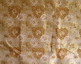 Beautiful Vintage Gold on Gold Brocade Upholstery Fabric Mums Chrysanthemums 3 yards