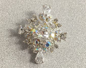 Diamond Shaped Aurora Borealis and Clear Rhinestones Pin Brooch