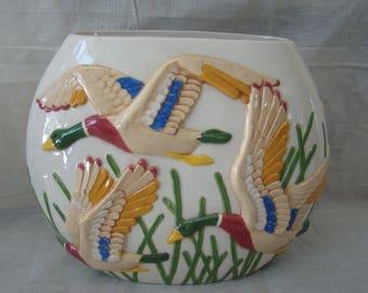 Vintage Flying Mallard Ducks Art Pottery Vase - Unique - Signed 'Mother' 91542