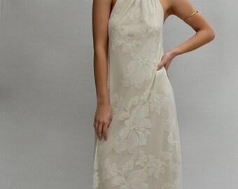Kupu Kupu Halter Maxi Dress in Off White